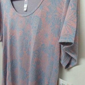 LuLaRoe Classic T Jacquard Blue Pink Flower New XL